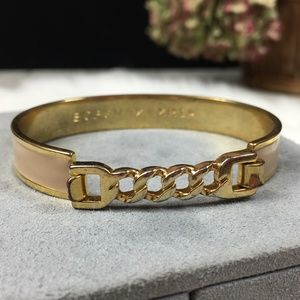 BCBGMaxazaria Enamel Gold Tone Bangle Bracelet